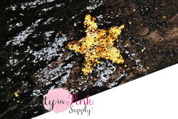 FULL YARD of Black/Gold Reversible Sequin Fabric