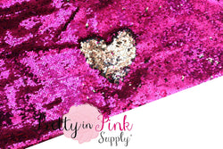 FULL YARD of Raspberry/Dark Silver Reversible Sequin Fabric