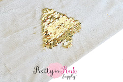 Full Yard of White/Gold Reversible Sequin Fabric