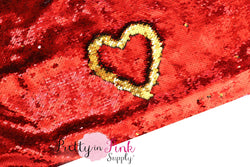 Full Yard of Red/Gold Reversible Sequin Fabric