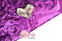 Full Yard of Purple/Silver Reversible Sequin Fabric