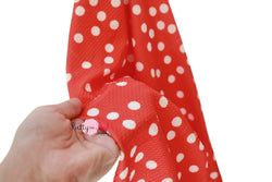 FLAWED TLC Clearance Blood Orange White Dot Liverpool Stretch Fabric