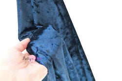 Navy Crushed Velvet Stretch Fabric