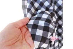White/Black Plaid 2 Way Stretch Jersey Fabric