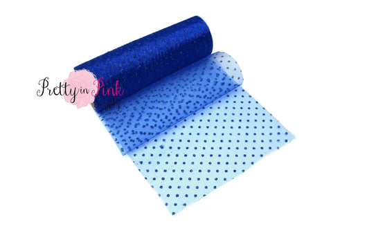Royal Blue Polka Dot Glitter Tulle 6 Yard Roll
