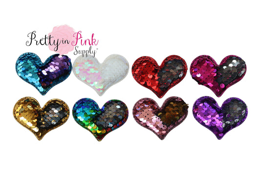REVERSIBLE Sequin Padded Hearts