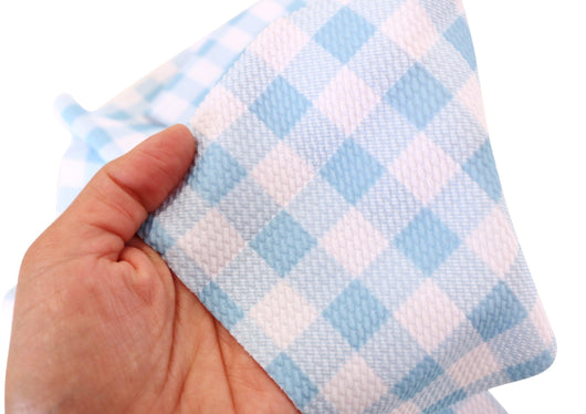 Baby Blue White Buffalo Plaid Liverpool Fabric