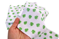 White with Green Shamrocks Liverpool Fabric
