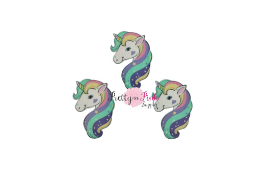 Pastel Rainbow Unicorn Head Flat-Back RESIN