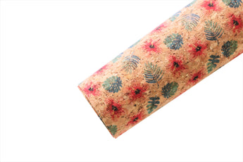Hawaiian Print Cork Faux Leather Fabric Sheet - Pretty in Pink Supply