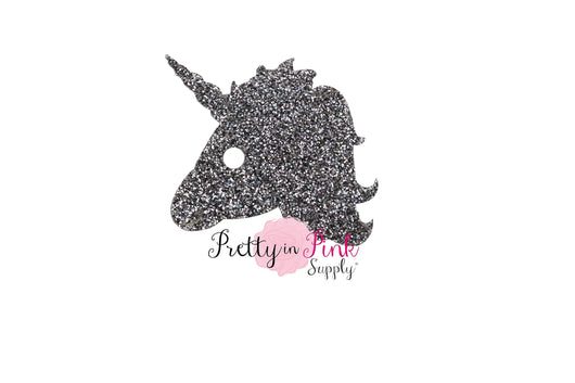 Charcoal Unicorn Head Glitter Felts