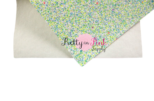 Blue/Neon Yellow Multi Colored Chunky Glitter Sheet