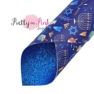 Hanukkah - Double Sided Premium Faux Leather/ Glitter Sheets