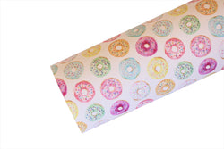 White with Pastel Doughnuts Faux Leather Fabric Sheet