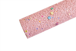 Pink Salmon Clay Flower Chunky Glitter Sheet