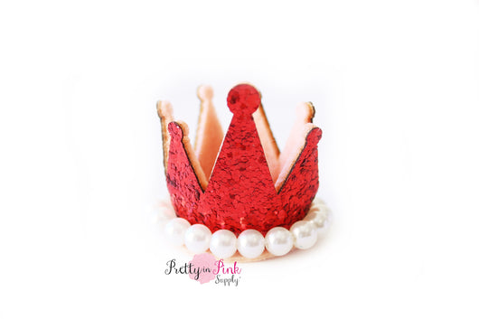 Jewel Center with Pearl Glitter Felt Crowns