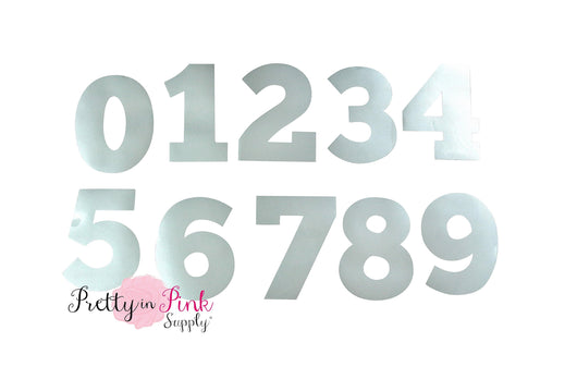 Metallic Silver Numbers Iron On