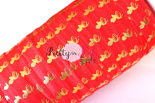 Red and Gold Metallic Deer Elastic - Pretty in Pink Supply