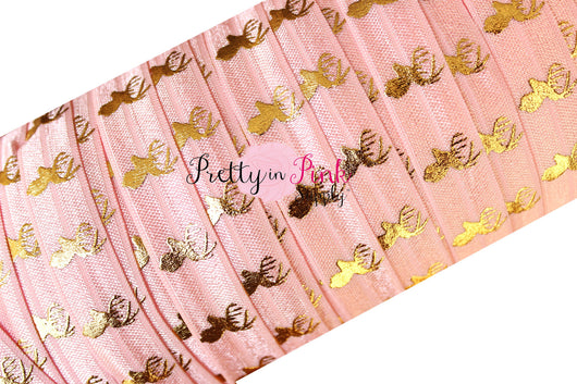 Light Pink and Gold Metallic Deer Elastic - Pretty in Pink Supply