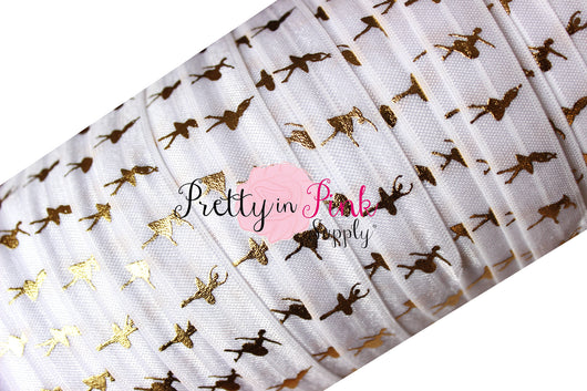 White and Gold Metallic Ballerina Elastic - Pretty in Pink Supply