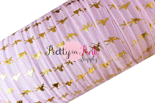 Lavender and Gold Metallic Ballerina Elastic - Pretty in Pink Supply
