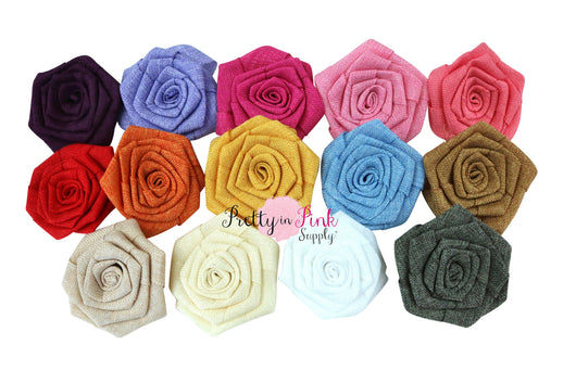 Burlap Fabric Rosette Flowers