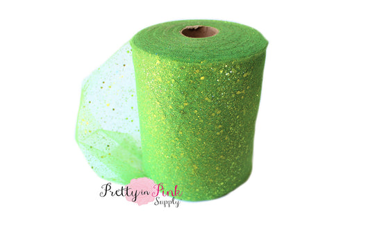 Apple Green Glitter Tulle - Pretty in Pink Supply