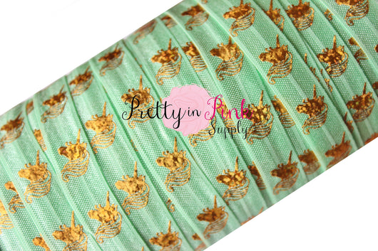 Pastel Mint with Gold Metallic Unicorn HEAD Elastic - Pretty in Pink Supply