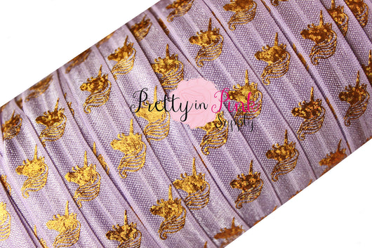 Lavender with Gold Metallic Unicorn HEAD Elastic - Pretty in Pink Supply