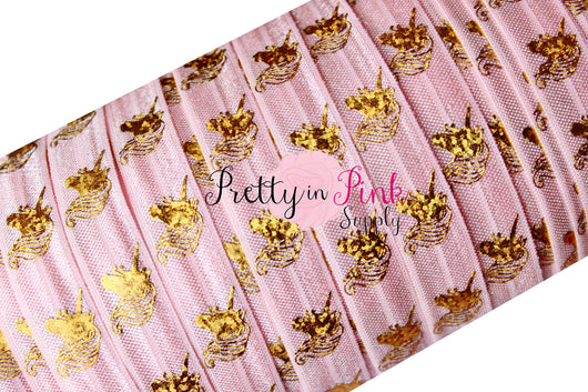 Light Pink with Gold Metallic Unicorn HEAD Elastic - Pretty in Pink Supply