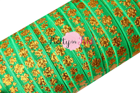 Emerald with Gold Holographic Shamrock Print Elastic - Pretty in Pink Supply