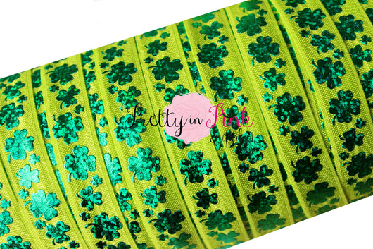 Lime Green with Emerald Holographic Shamrock Print Elastic - Pretty in Pink Supply