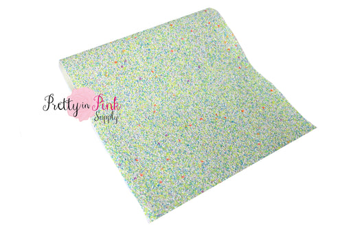 Blue/Neon Yellow Multi Colored Chunky Glitter Fabric Sheet - Pretty in Pink Supply