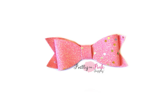 Pink Glitter Galaxy Star Bow - Pretty in Pink Supply