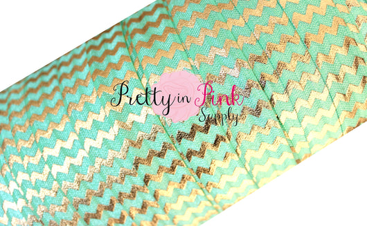Mint with Gold Chevron Metallic  Elastic - Pretty in Pink Supply