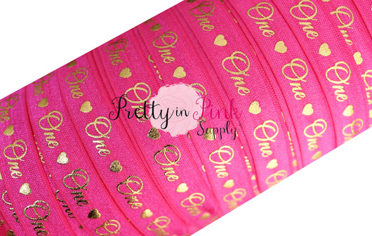 Hot Pink Cursive One/Heart Gold Metallic Print Elastic - Pretty in Pink Supply