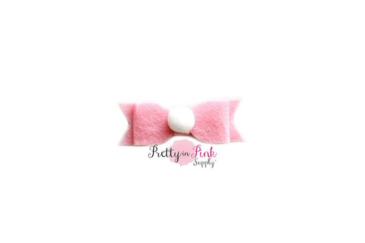 Light Pink Pom Pom Felt Bow - Pretty in Pink Supply