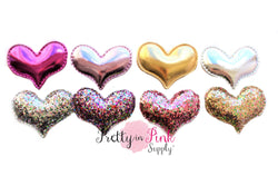 Padded Glitter/Metallic Hearts - Pretty in Pink Supply