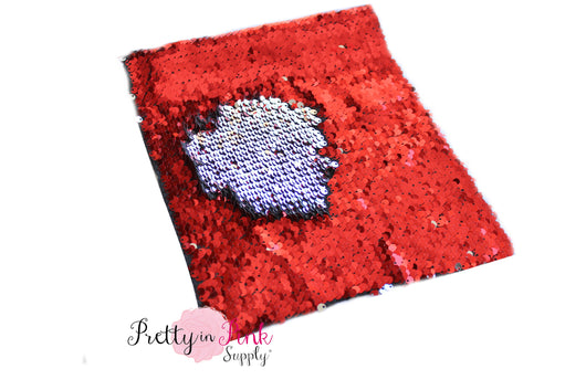 Red/Silver Changeable Sequin Fabric Sheet - Pretty in Pink Supply