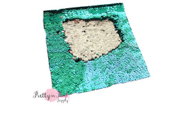 Sea Green/Silver Changeable Sequin Fabric Sheet - Pretty in Pink Supply