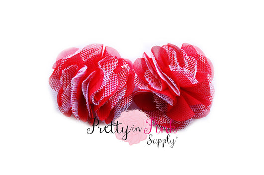 Red and White Chiffon Tulle Mesh Puff - Pretty in Pink Supply