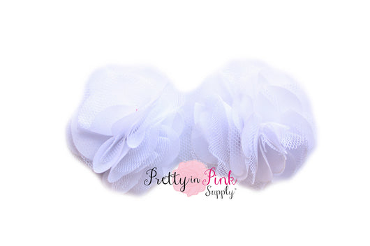 White Chiffon Tulle Mesh Puff - Pretty in Pink Supply