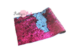 Raspberry/Navy Changeable Sequin Fabric Sheet - Pretty in Pink Supply