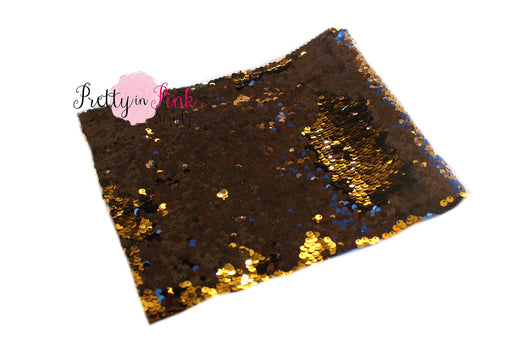 Black/Gold Changeable Sequin Fabric Sheet - Pretty in Pink Supply