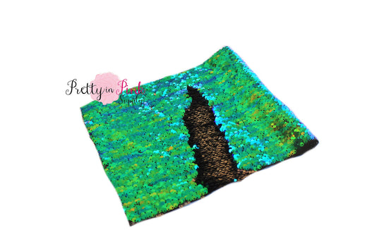 Green Peacock/Black Changeable Sequin Fabric Sheet - Pretty in Pink Supply