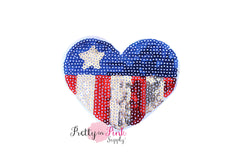 Sequin FLAG Heart Iron On Patch - Pretty in Pink Supply