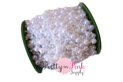 White Pearl Beaded Trim - Pretty in Pink Supply