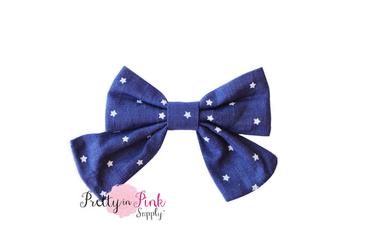 Navy/White Star Fabric TAIL Bow