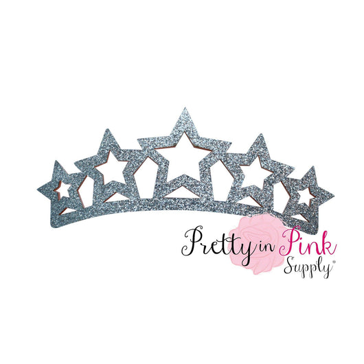 Silver STAR Glitter Felt Crown