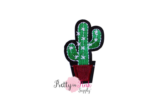 Cactus with Brown Pot Iron On Patch - Pretty in Pink Supply